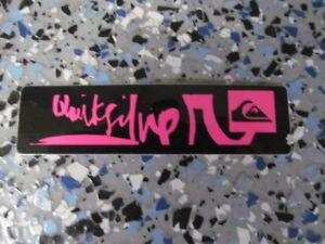 Quicksilver Pink Logo With Black Background 4 X 1 Surf Sticker Ebay