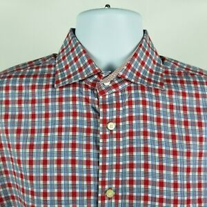 TD-Thomas-Dean-Mens-Red-Blue-Check-Plaid-L-S-Dress-Button-Shirt-Sz-Medium-M