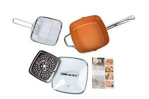 Pots & Pans Large Deep Sided Non-stick Copper 24cm Square Pan Kit Glass Lid Oven Safe 5pc Easy To Use Frying & Grill Pans