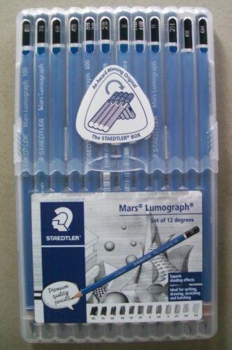 12 Staedtler Mars Lumograph 100 Pencils in Plastic casing