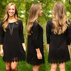 New-Women-Summer-Lace-Long-Sleeve-Casual-Evening-Party-Cocktail-Mini-Dress