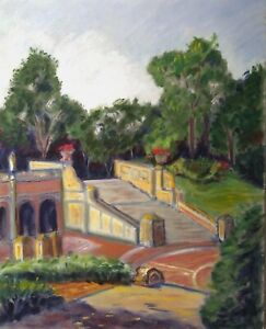 CENTRAL PARK BETHESDA STAIRWAY NEW YORK CITY VINTAGE IMPRESSIONIST PAINTING