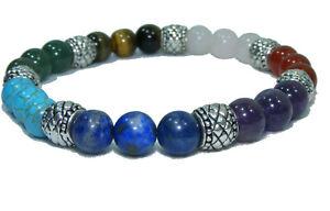 Bracelet BOUDDHA 7 Pierres naturelles perles de 8 mm 20cm ou sur mesure LAPIS...