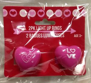 Details About Valentine S Day Pink Light Rings Heart Shaped Soft Rubber Gel Strobing Flash