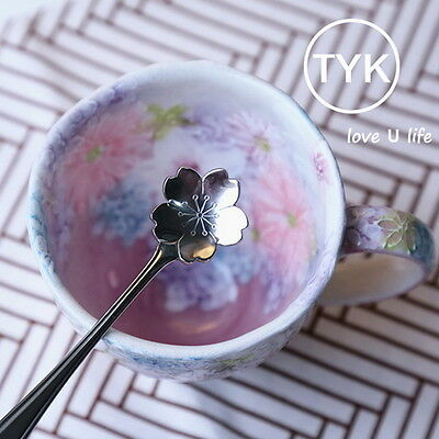 Oriental Cherry Sakura Spoon Milk Coffee Stirring Scoop Lovely Kids Flatware Z