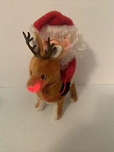 Vtg Musical Santa Claus on Reindeer Christmas Figure Lighted Decoration Animated