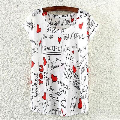 New Fashion Summer Women Short Sleeve Heart Love Print T Shirt Tee Blouse Tops