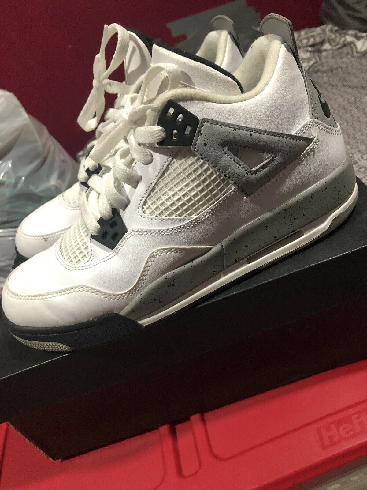 Air Jordan Retro bianca Cement 4 IV Dimensione 6.5 OG scatola Sautope classeiche da uomo