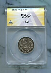 CANADA-BEAUTIFUL-EDWARD-VII-SILVER-25-CENTS-1908-GREAT-DATE-ANACS-GRADED