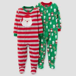 86ceaee3a955 JUST ONE YOU CARTER S Toddler Boys  Fleece Christmas Footed Pajama ...