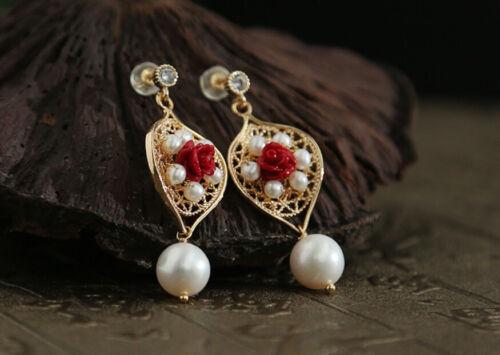 B12 brazaletes aretes en el barroco-estilo con blanco perla y rojo Rose