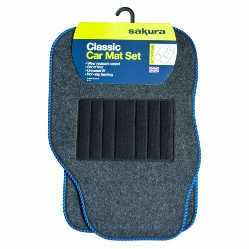 Ribete Azul Ajuste Universal Alfombra gris coche piso Mat Set