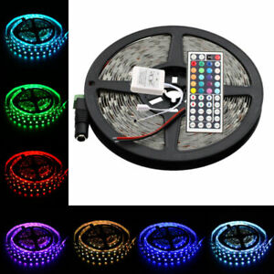 16-4ft-5M-5050-SMD-RGB-300-LED-Strip-Light-Flexible-Lamp-Tape-DC12V-44Key-Remote