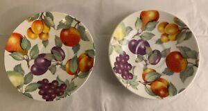 2-Roy-Kirkham-England-Fruits-Saucers-Plates-Dishes-Bone-China-FREE-US-SHIPPING
