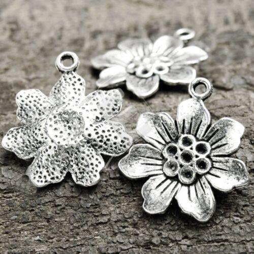 20pcs Spacer Pendant Charm Tibetan Silver Jewelry Findings Flower 26x22x2.5mm EB