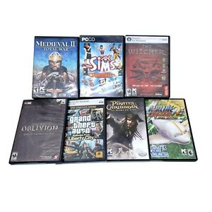 Lot of (7) PC Computer Games for Windows Pre-Owned/Used (Skyrim, GTA, Witcher..)
