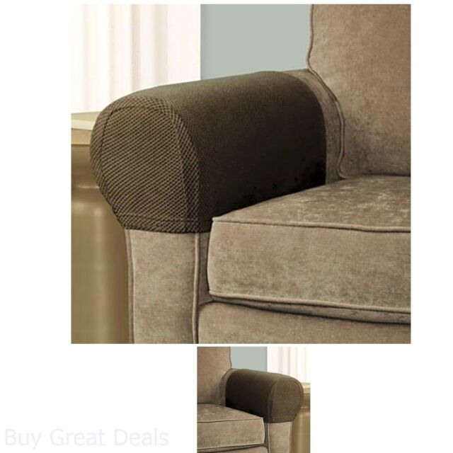 2 Piece Armrest Protectors Covers Stretchy Set Chair Or Sofa Arm Stretch To Fit