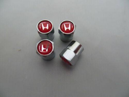 Grande Qualité Chrome Capuchons Anti-poussière avec une HONDA LOGO en Rouge /& Argent sur chaque Cap