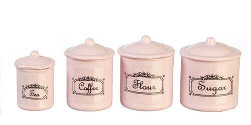 Maison de poupées miniature 1:12th échelle Set de 4 Rose de stockage Pots
