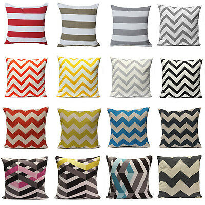 Geometric Wave Stripe Zig Zag Linen Cotton Pillow Case Cushion Cover Home Decor