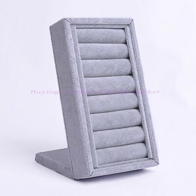Fashion Top Grey Velvet Ring Jewelry Display Stand Holder Showcase Countertop