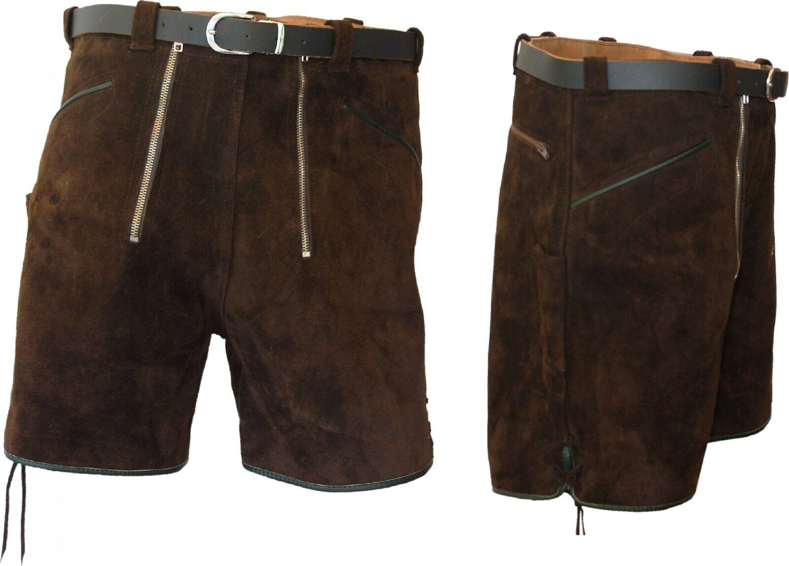 Paese Casa Moda breve Lederhose 2 cerniere con cintura shorts in pelle Marroneee