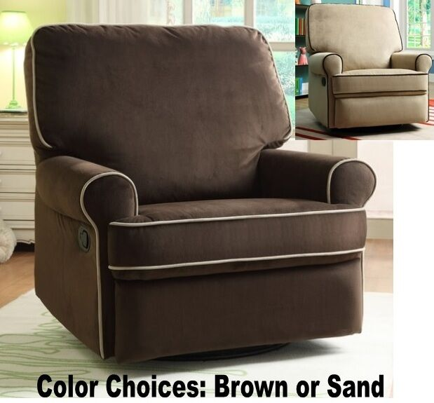 new product 59724 ab8ab LARGE Nursery Swivel Glider Recliners Armchair Recliner Arm Chairs Brown  Chair