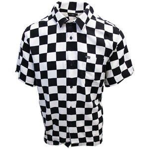OBEY-Men-039-s-Black-amp-White-Checkered-S-S-Shirt-Retail-59-99-S05