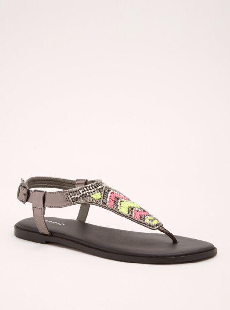 9b0baa07caf Torrid Neon Beaded T-Strap Sandals Wide Width Black 6  66904
