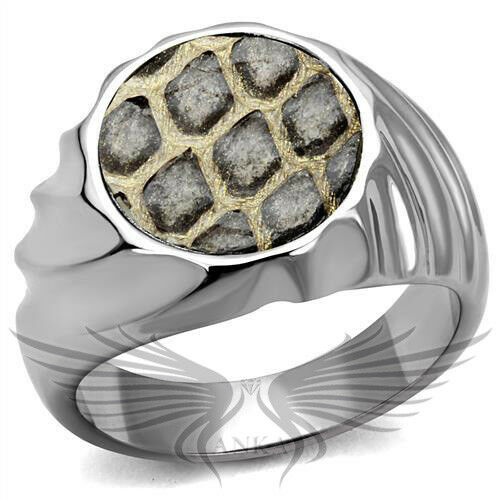 Men's Leather Animal Pattern Stainless Steel Ring High Polished Ring TK2859