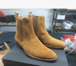 New Men's High Top Chelsea Ankle Boots Suede Leather Chukka Vintage Flats shoes