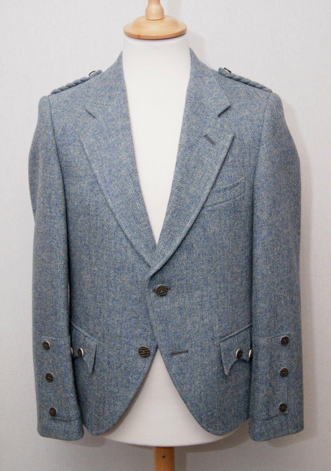 Andrew Douglas men's blue grey pure wool tweed Braemar kilt jacket 38