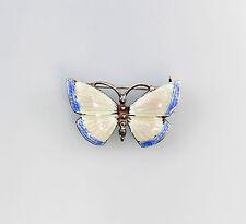 01289 925er Silber emaillierte Brosche Schmetterling Jugendstil-Art blaurosa
