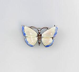 925er-Argent-emaille-Broche-Papillon-Art-Nouveau-Art-bleu-rose-a6-01289