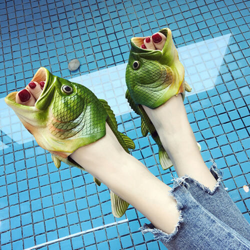 2019 Unisex Herren Damen Halbschuhe Freizeit Pantoletten Casual Hausschuhe Fisch