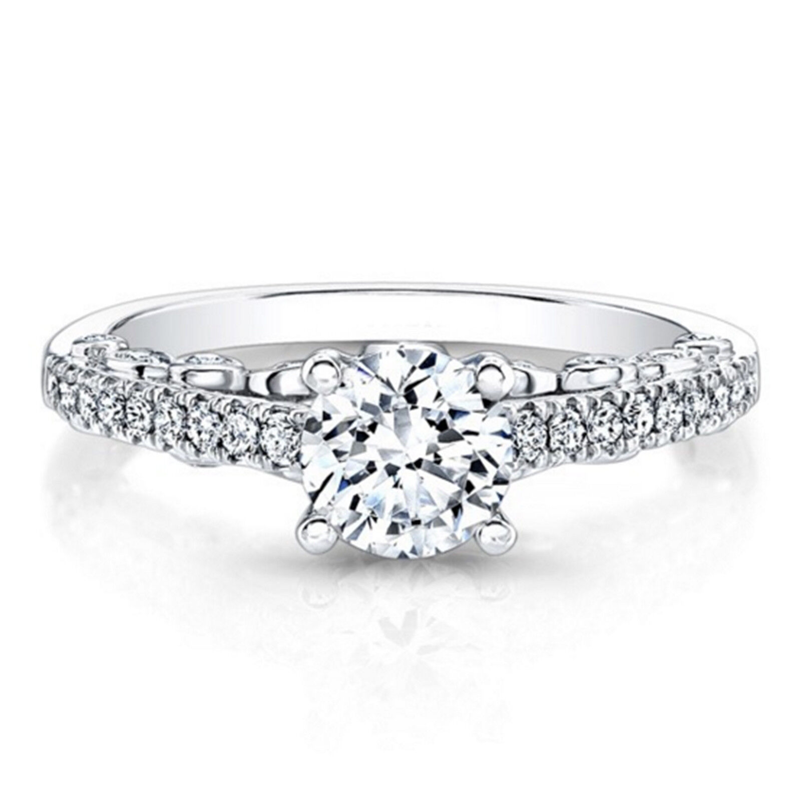 0.74 Ct Round Cut Diamond Engagement Rings 14K Solid White gold Women's Size 7 6