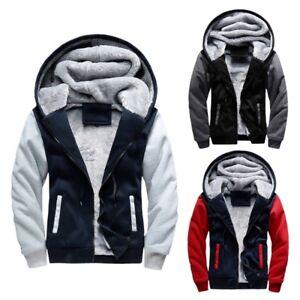 Men-039-s-Winter-Thick-Warm-Hoodie-Jacket-Male-Wool-Coat-Lining-Casual-Outwear-M-5XL