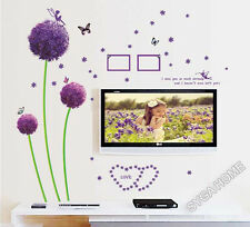 Purple flower wall stickers,wall decals 9015