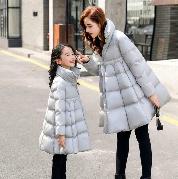 Damenmode Cotton Down Kinder Mädchen A-Linie Mäntel Stehkragen Windbreaker Jacke