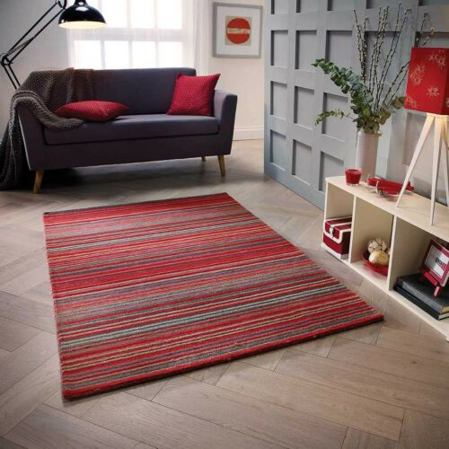 Carter Red Rugs Runners ALL SIZES 100/% Wool Stripe Pattern Striped