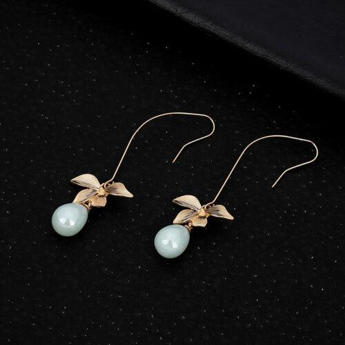 Women Hot Fashion Jewelry Leaves Shape Long Drop Hook Dangle Earrings LD