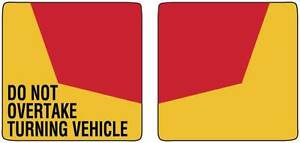Pair-of-Do-Not-Overtake-Turning-Vehicle-Truck-Sign-Self-Adhesive-TC400A