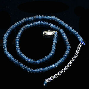 New-Fine-2x4mm-Faceted-Kyanite-Roundlle-Gems-Beads-Necklace-18-034-Silver-Clasp-AAA