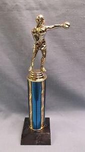 blue BOXER trophy black wood base