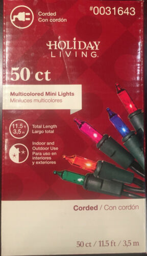 2 boxes  Holiday Living  50 ct corded multicolored mini  Lights 0031643 nib