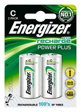 2 Energizer Tamaño C Power Plus Baterías Recargables 2500mAh LR14 HR14 1.2v ACCU