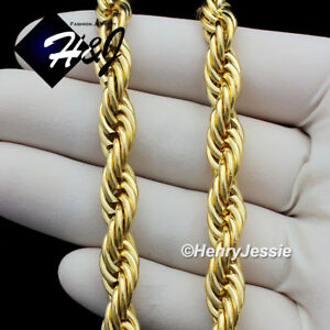 18-034-20-034-24-034-30-034-MEN-039-s-Stainless-Steel-10mm-Gold-Smooth-Rope-Chain-Necklace-GN149