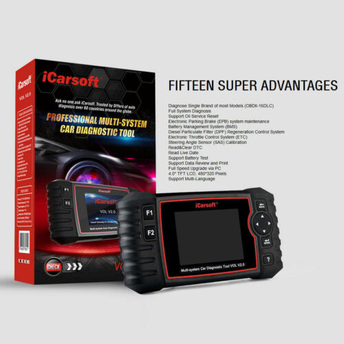VOLVO SAAB OBD2 iCarsoft vol V2.0 Diagnostic Scanner DPF SRS ABS huile moteur