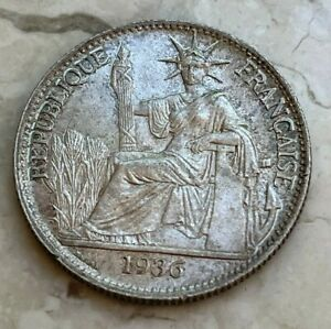 1936 French Indochine Indo China 50 Cents - Silver Uncirculated