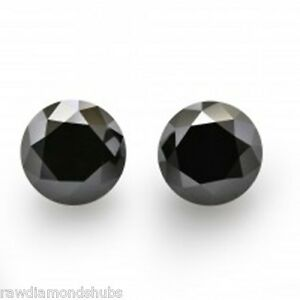 Genuine-Pair-AAA-4-0-ct-Round-cut-Natural-Loose-Black-Diamond-2-pcs-I3-Clarity